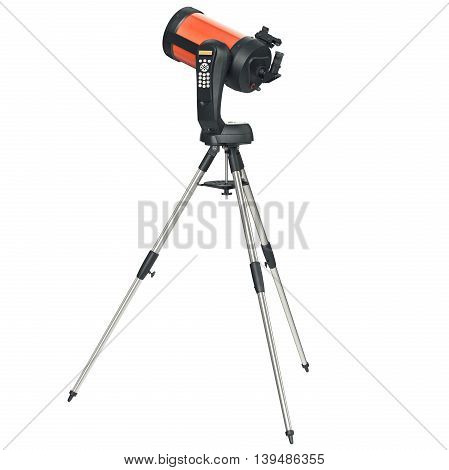 Optical telescope on tripod equipment for astronomy. 3D graphic