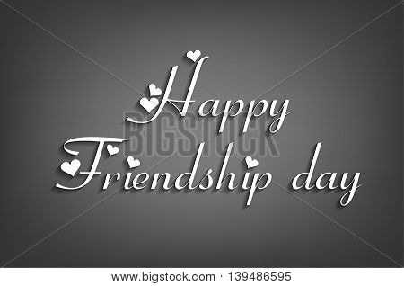 happy friendship day text isolated on a black background