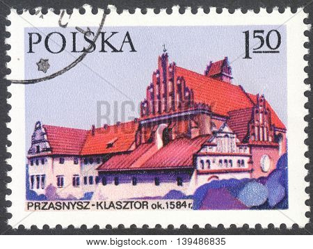 MOSCOW RUSSIA - CIRCA FEBRUARY 2016: a post stamp printed in POLAND shows Bernardine monastery in Przasnysz the series