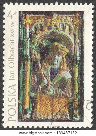 MOSCOW RUSSIA - CIRCA FEBRUARY 2016: a post stamp printed in POLAND shows King Jan I Olbracht the series