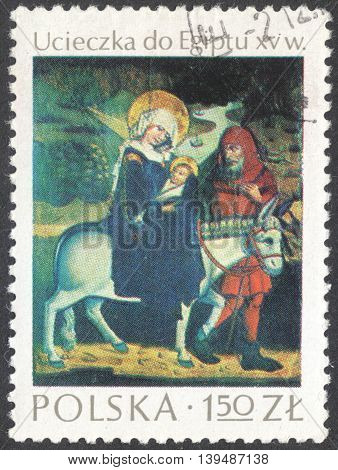 MOSCOW RUSSIA - CIRCA FEBRUARY 2016: a post stamp printed in POLAND showsa painting