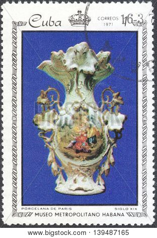 MOSCOW RUSSIA - CIRCA FEBRUARY 2016: a post stamp printed in CUBA shows treasures of the Metropolitan Museum of Havana the series