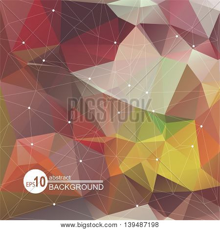 Polygonal abstract background with multicolored brown triangles.