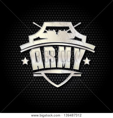 Army metal sign on a black background
