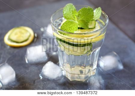 Cool refreshing drink: pure water ice lemon cucumber and mint garnish