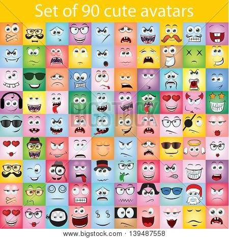 Set of 90 cute doodle avatars with different emotions