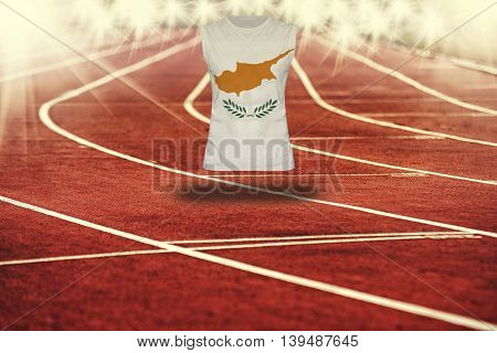 Red Running Track With Lines And Cyprus Flag On Shirt