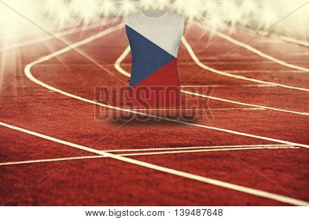 Red Running Track With Lines And Czech Republic Flag On Shirt