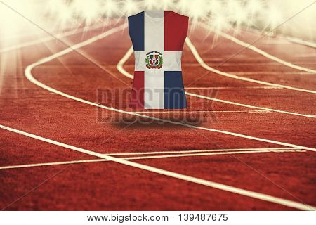 Red Running Track With Lines And Dominican Republic Flag On Shirt