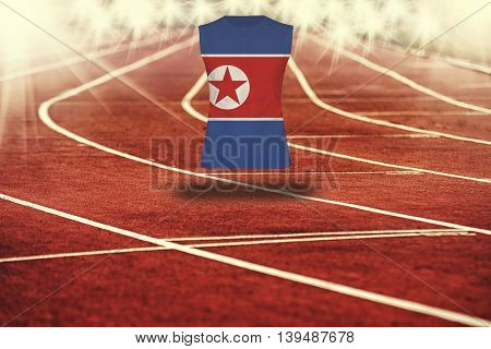 Red Running Track With Lines And Dpr Korea Flag On Shirt