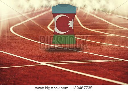 Red Running Track With Lines And Azerbaijan Flag On Shirt