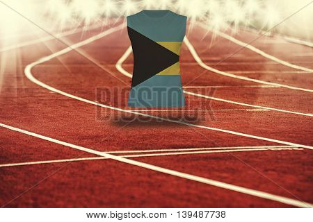Red Running Track With Lines And Bahamas Flag On Shirt