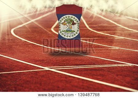 Red Running Track With Lines And Belize Flag On Shirt