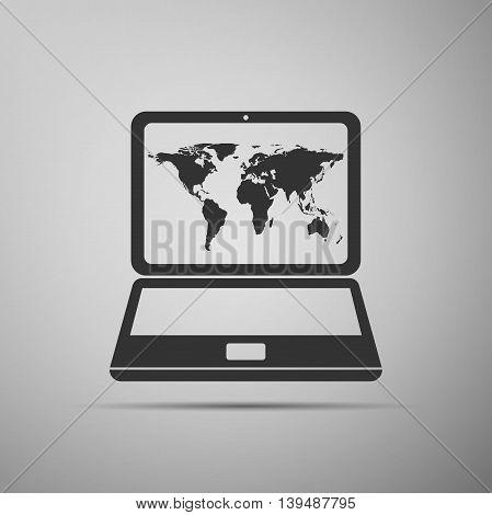 Laptop with world map icon on grey background. Adobe illustrator