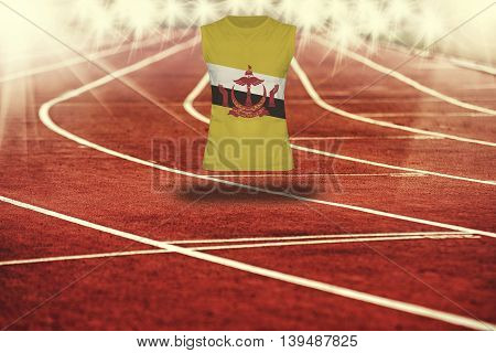 Red Running Track With Lines And Brunei Darussalam Flag On Shirt