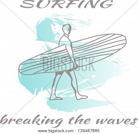 Surfing. Breaking the waves. Summer Concept. Happy vacation card. Template Vector.