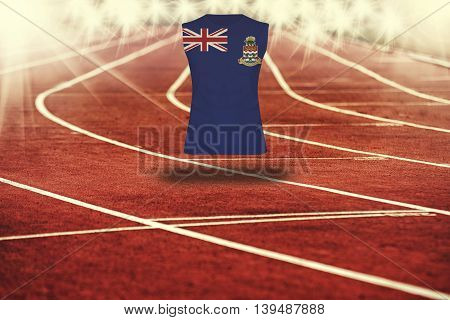 Red Running Track With Lines And Cayman Islands  Flag On Shirt