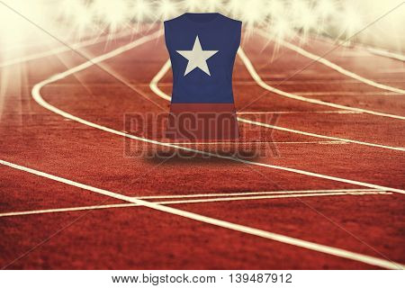 Red Running Track With Lines And Chile Flag On Shirt