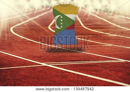 Red Running Track With Lines And Comoros Flag On Shirt