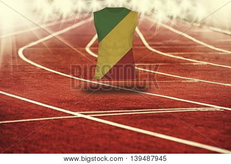 Red Running Track With Lines And Congo Flag On Shirt