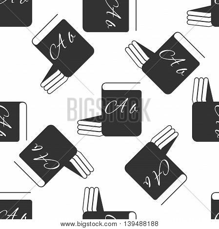 Book icon seamless pattern on white background. Vector Illustration