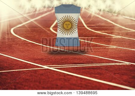 Red Running Track With Lines And Argentina Flag On Shirt