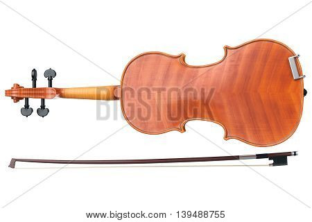 Violin stringed wooden instrument, bottom view. 3D graphic