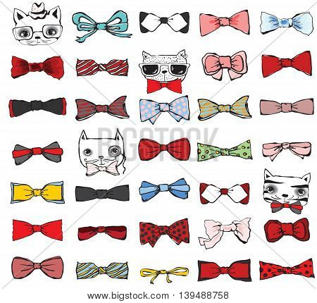 Set of hand drawn tie-bow with hipster cats.