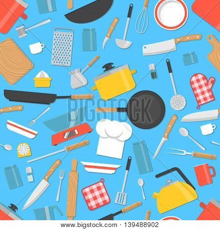 Kitchen tools seamless pattern. Cooking utensils background. Vector illustration