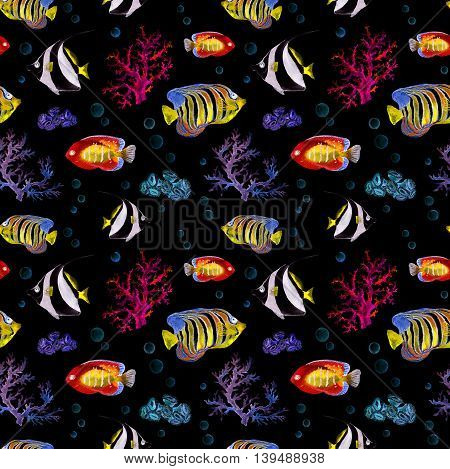 Glowing exotic fishes, sea corals. Seamless sea pattern with neon light. Watercolor