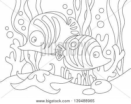 Two cute cartoon fishes under the sea. Can be used for coloring book. Vector illustration.