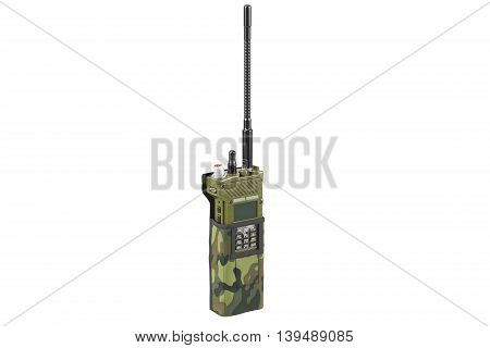 Military digital radio in cover army equipment. 3D graphic