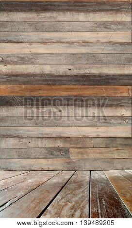 Wall and floor perspective antique Red Balau wood littlebit blur photo for background.