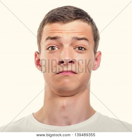 Photo of Surprised Young Man. Toned photo.