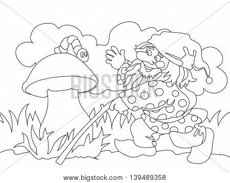 Image of gnome and caterpillar on mushroom. Can be used for coloring book. Vector illustration.