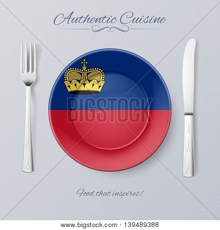 Authentic Cuisine of Liechtenstein. Plate with Flag and Cutlery, vector