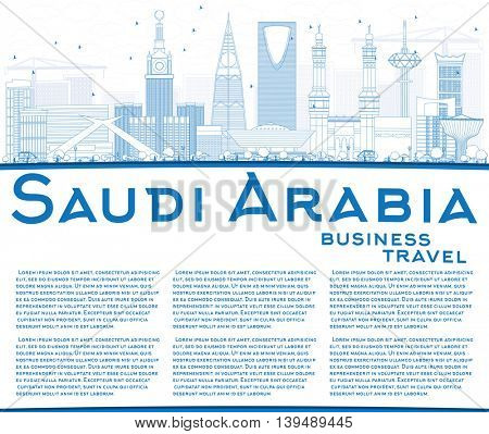 Outline Saudi Arabia Skyline with Blue Landmarks and Copy Space. Vector Illustration. Business Travel and Tourism Concept. Image for Presentation Banner Placard and Web Site.