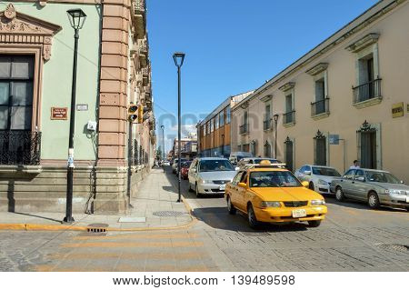Oaxaca Mexico - November 16 2014: Streets of the beautiful colonial city of Oaxaca are seen on a warm sunny day Mexico
