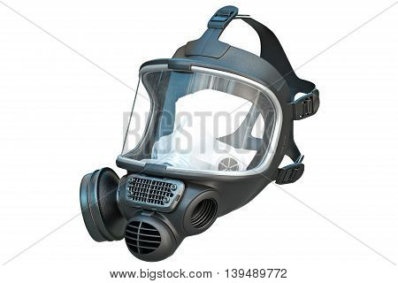 Safety pro mask rubber with glass protection equipment. 3D graphic