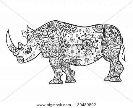 Ornament rhino vector. Beautiful illustration rhinocero for design, print clothing, stickers, tattoos, Adult Coloring book with rhino. Hand drawn animal illustration. Rhinocero lace ornamental
