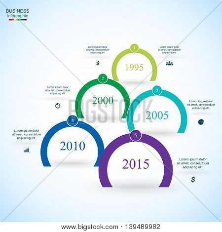 Circle timeline template for diagram graph presentation and chart. Business concept with 5 options parts steps or processes.