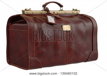 Travel bag leather classic accessory. 3D graphic