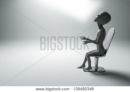 3d illustration of an alien sitting on a metal chair