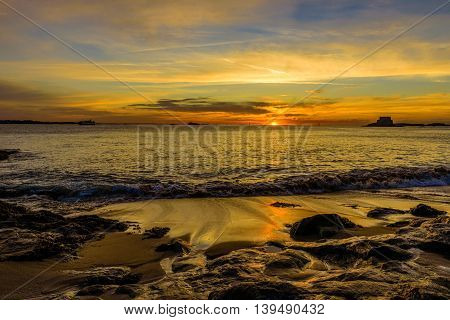 Seascape with dramatic Sunset in Saint Malo, Brittany, France