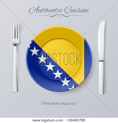 Authentic Cuisine of Bosnia and Herzegovina. Plate with Flag and Cutlery