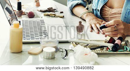 Woman Beauty Makeup Cosmetic Laptop Concept