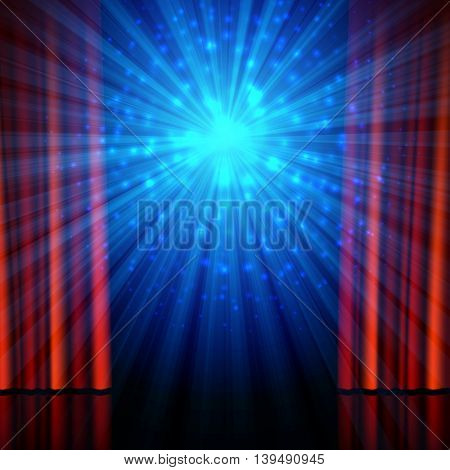 Stage, spotlights and red open curtains. Theatrical, festival, cinema, stand-up comedy or another show poster design background, vector illustration.