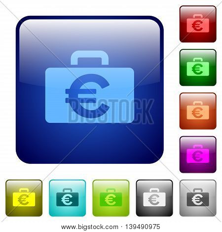 Set of Euro bag color glass rounded square buttons