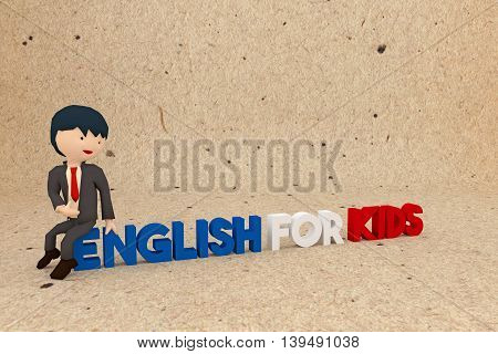 3d illustration of a teacher character inviting kids to learn english