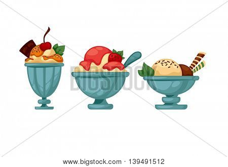 Set of colorful tasty ice cream. Isolated on white. Vector illustration.